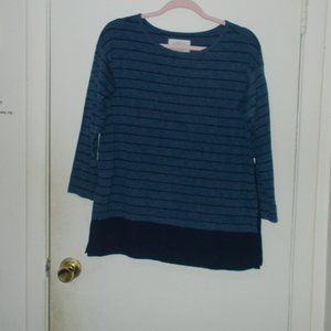 Loft Lounge Striped Top Blue/Navy Size Small